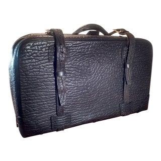 Vintage Dark Brown Leather Suitcase For Sale