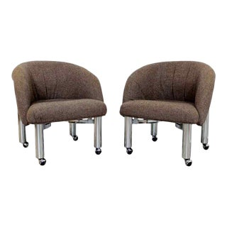 Mid Century Modern Tubular Chrome Barrel Armchairs Milo Baughman Dia 1970s - a Pair For Sale