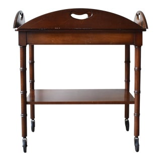 English Traditional Mahogany Butler's Tray Table on Wheels For Sale