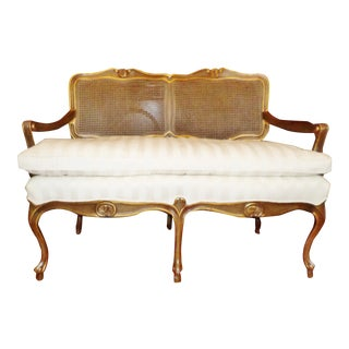 Mid Century French Louis XV Style Double Cane Back Settee For Sale