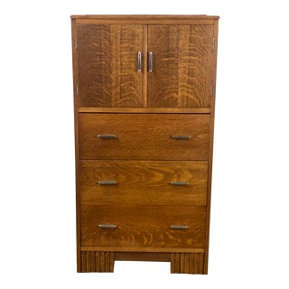 Vintage Mission Style Tiger Oak Bar Cabinet / Cupboard For Sale