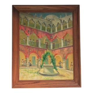 Spanish Courtyard by Helen Penniman For Sale