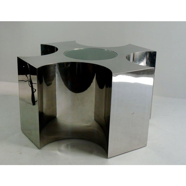 Abstract Rare Large Scale Polished Steel Table For Sale - Image 3 of 7