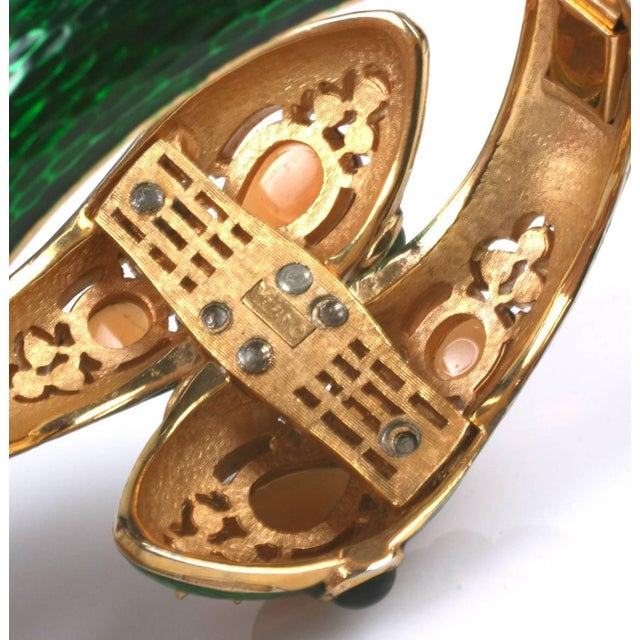 1960s Trifari Jeweled Snake Bangle For Sale - Image 5 of 6