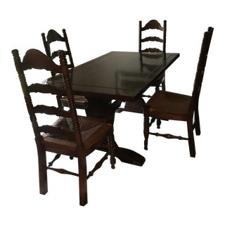 Farmhouse Table & Ladderback Chairs - Set of 5 For Sale