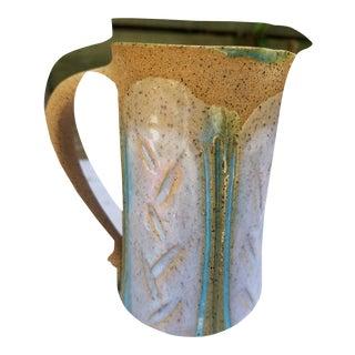 Hand Thrown Glazed Stoneware Jug Circa 1975 For Sale
