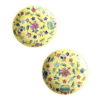 Vintage Japanese Floral Plates - a Pair For Sale
