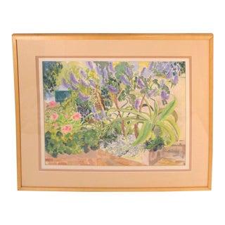 Tropical Watercolor Painting Floral Garden Landscape 1980s For Sale
