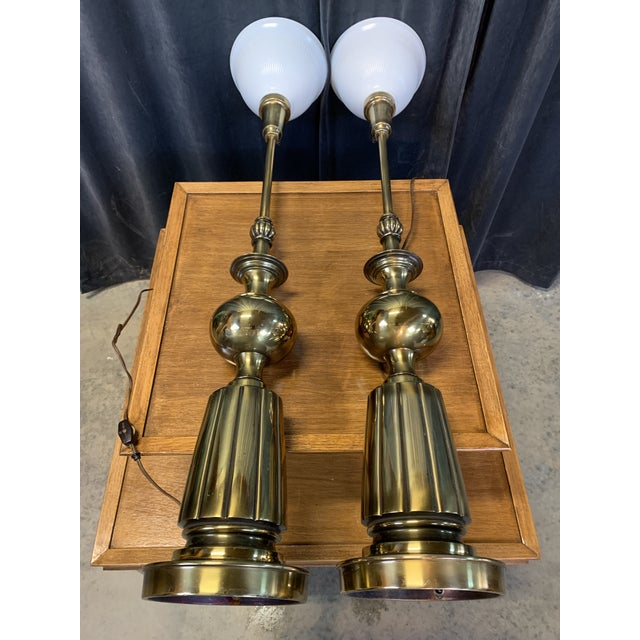 1960s Brass Stiffel Table Lamps With Glass Diffusers and Shades - a Pair For Sale - Image 9 of 11