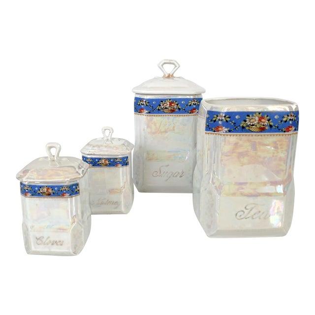Art Nouveau Victoria Czech Slovakia Luster Ware Canisters Jars Iridescent Set For Sale