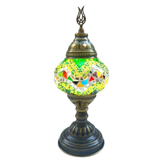 Turkish Handmade Green Mosaic Lamp - Image 1 of 3