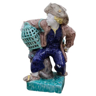 Josef Wackerle Porcelain Sculpture Lifesize Bird-dealer With Cage For Sale