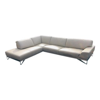 Roche Bobois Two Piece Leather Sectional For Sale