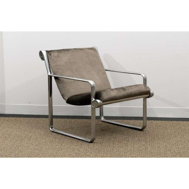 Hollywood Regency Rare Pair of Aluminum Lounge/Club Chairs by Hannah/Morrison for Knoll For Sale - Image 3 of 11