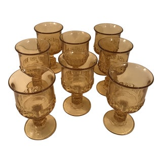 Vintage Indiana Glass Company Kings Crown Thumbprint Cornsilk Yellow Wine Glass Goblets - Set of 8 For Sale