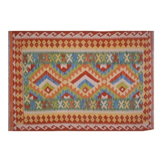 "Vintage Afghan Hand Made Organic Wool Maimana Kilim,3'6""x5' For Sale"