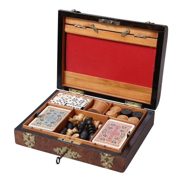 Antique English Games Compendium, Lock & Key For Sale
