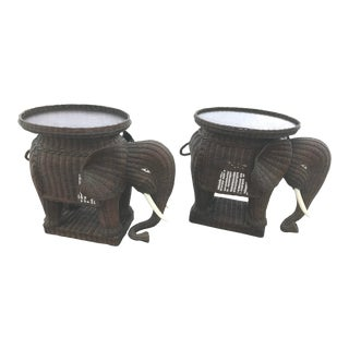 1970s Boho Chic Wicker Elephant Side Table or Stools - a Pair For Sale