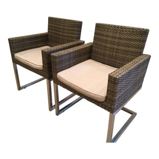 Baker Palms Collection Woven Cantilever Indoor/Outdoor Armchairs- a Pair