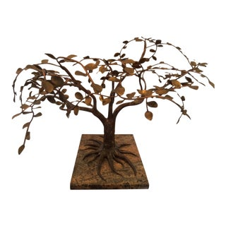 1960s Modernist and Brutalist Bronze, Copper and Brass Tree Sculpture For Sale