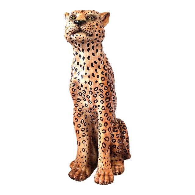 1970s Vintage Life Size Ceramic Cheetah Sculpture For Sale