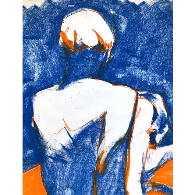 """Blue Contemporary Figure Drawing in Blue and Orange Pastel, """"Seated Figure in Blue and Orange"""" by Artist David O. Smith For Sale - Image 8 of 11"""