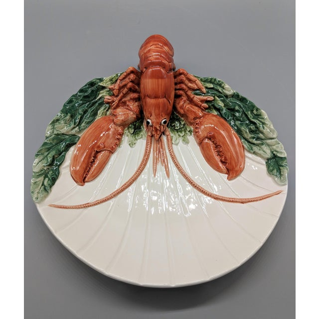 Cottage Late 20th Century Fitz and Floyd Trompe l'Oeil Lobster Seafood Plates - a Pair For Sale - Image 3 of 11