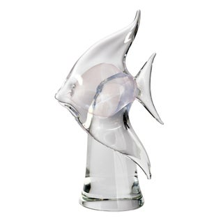 Vintage Mid-Century Modern Clear Murano Glass Angel Fish Sculpture For Sale