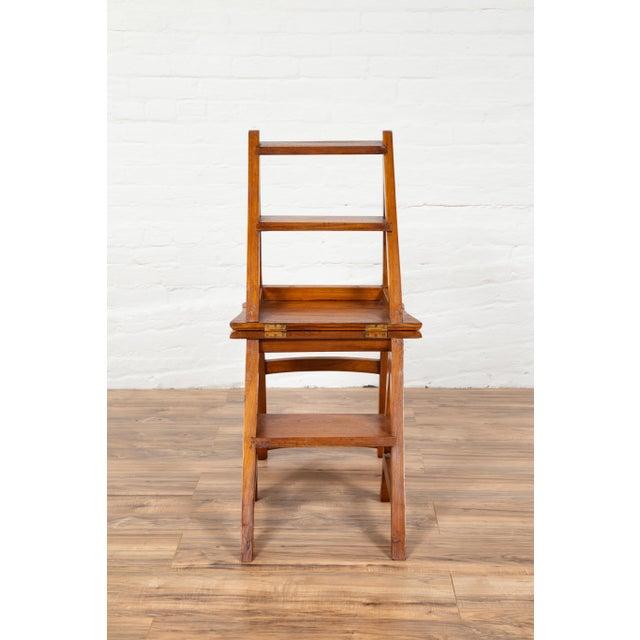 Vintage Dutch Colonial Metamorphic Teak Step Ladder Folding Side Chair For Sale - Image 9 of 13