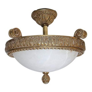 1990s French Giltwood Alabaster Pendant Ceiling Light For Sale