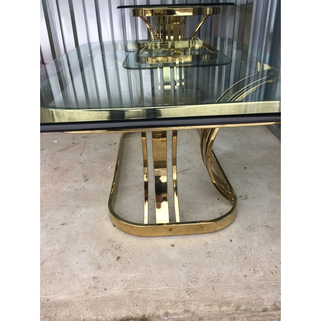 Hollywood Regency Sculptural Gold & Glass Coffee Table - Image 8 of 8