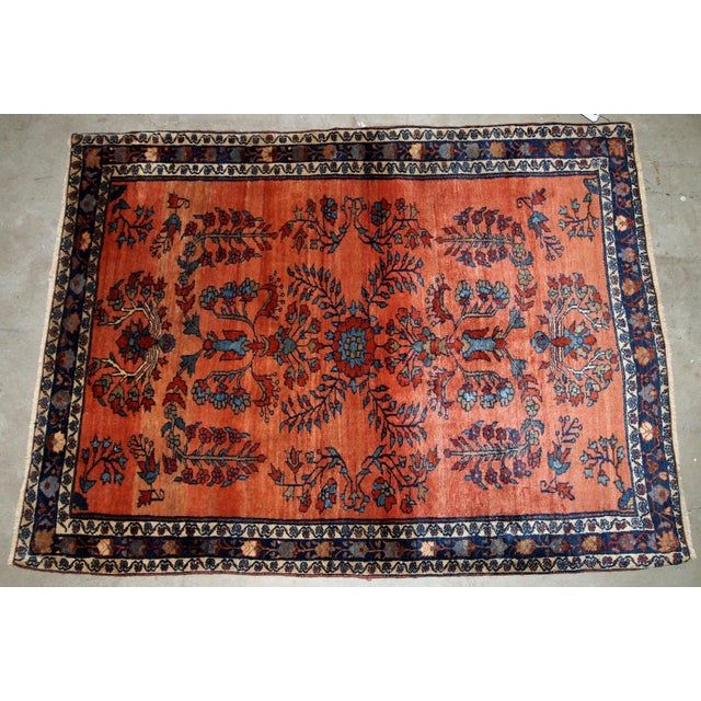 Textile 1900s Handmade Antique Persian Sarouk Rug For Sale - Image 7 of 9