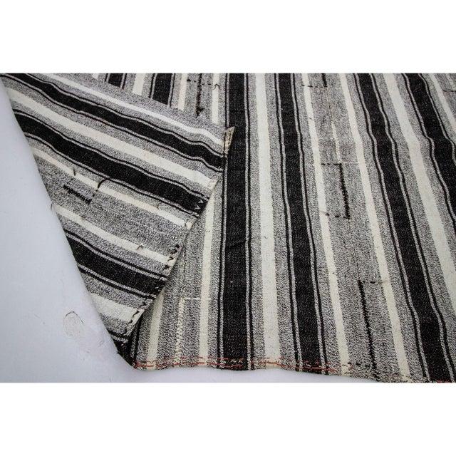 1960s Vintage Black & Gray Striped Kilim Rug- 8′ × 10′2″ For Sale - Image 5 of 7