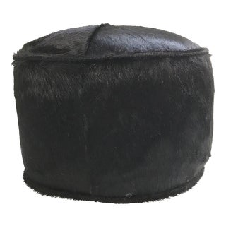 Forsyth One of a Kind Black Brazilian Cowhide Pouf Ottoman For Sale