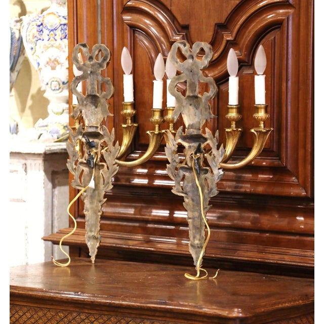 Bronze Mid-19th Century French Louis XVI Bronze Dore Three-Light Wall Sconces - a Pair For Sale - Image 8 of 10