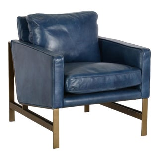 Midnight Blue Leather Club Chair For Sale