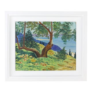 1940s French Landscape Oil Painting by Poulinet, Framed For Sale