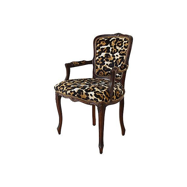 Gold Carved Armchair W/ Cowhide Animal Spots For Sale - Image 8 of 12