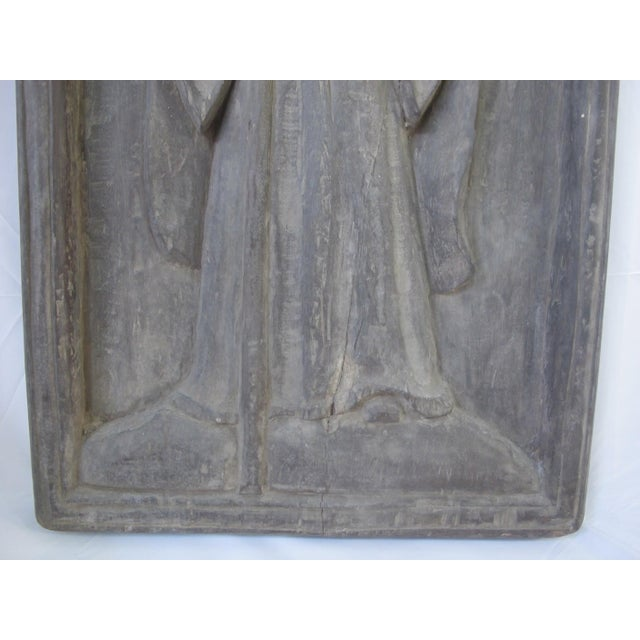 Mediterranean Late 19th Century Spanish Colonial Robed Saint Spiritual Religious Panel For Sale - Image 3 of 6