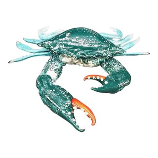 Murano Glass Blue Crab by Dario Frare For Sale