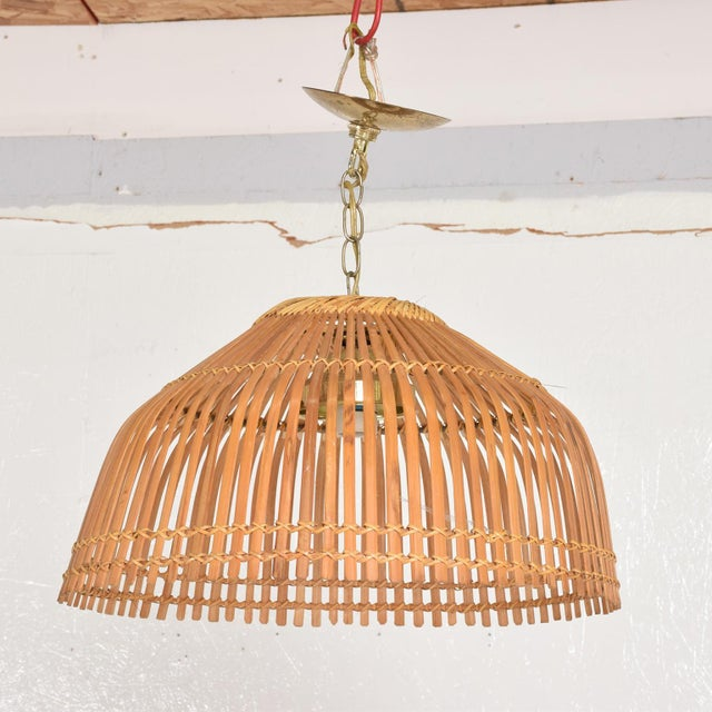 Boho Chic Mid-Century Modern Rattan Pendant Hanging Lamp For Sale - Image 3 of 9