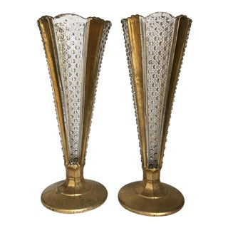 Gilded Glass Trumpet Vases - a Pair For Sale
