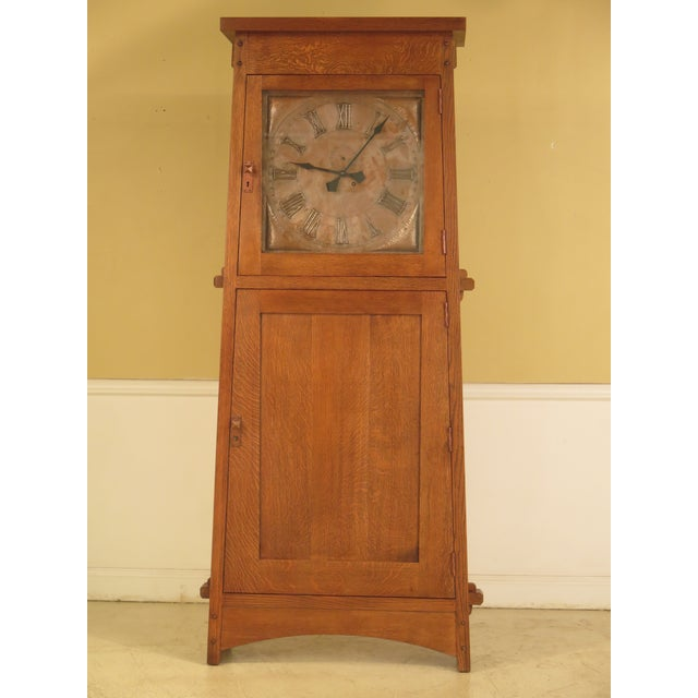 Stickley Monumental Mission Oak Grandfather Clock For Sale - Image 11 of 11