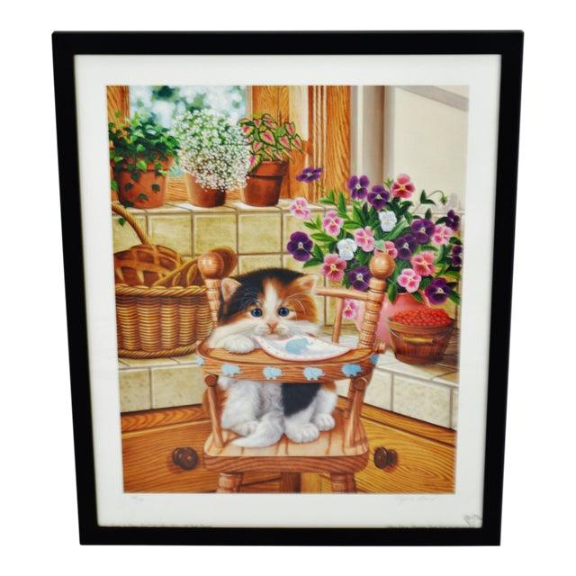 Vintage Signed Barbara Higgins Bond Sunday Brunch Limited Edition Textured Lithograph For Sale