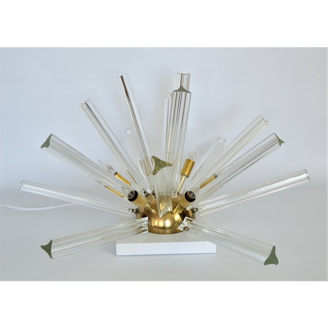 Venini Mid-Century Modern Italian Murano Glass & Brass Sputnik Table Lamp - Image 3 of 12