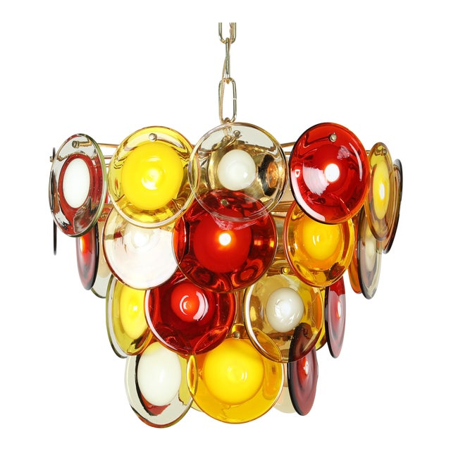 1960's VINTAGE VISTOSI MURANO GLASS DISC CHANDELIER For Sale