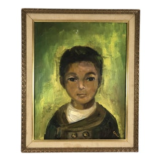 1960s Vintage Portrait of Young Boy Signed & Framed Oil on Canvas Painting For Sale