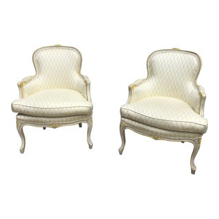 1960s Vintage French Bergere Chairs- A Pair For Sale