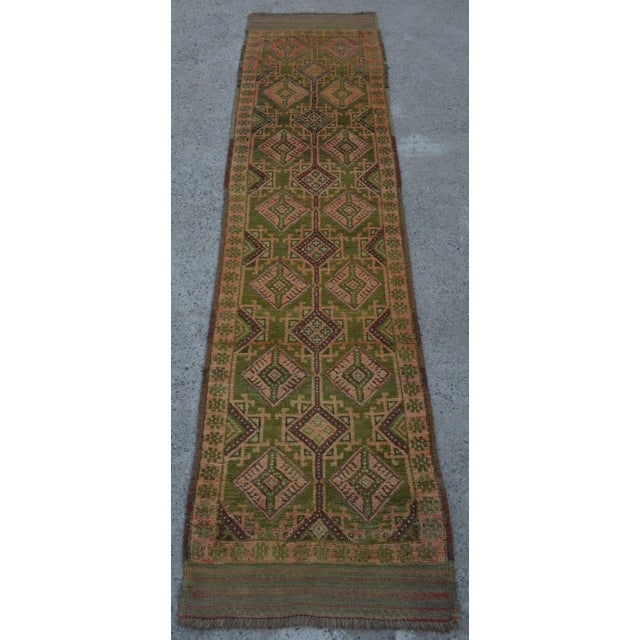 "Vintage Tribal Turkish Kilim Rug - 2' x 8'4"" For Sale - Image 5 of 5"