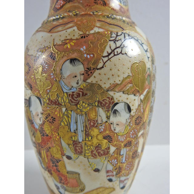 Antique Hand Painted Satsuma Vase For Sale - Image 4 of 6